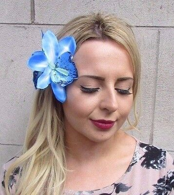 Double Light Blue Orchid Flower Hair Clip Rockabilly 1950s Fascinator Lily 3117