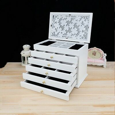 New 6 Layers Extra Large Wooden Jewellery Gift Carved Storage Box Watch Case
