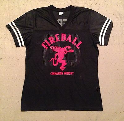 Fireball Cinnamon Whisky Ladies Sz M Bartender Hockey #66 Jersey V-Neck Top Blk