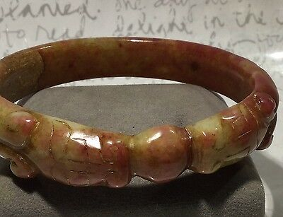 """Vintage China Hand-Carved Yellow Jade Double Dragon Bangle 8"""" Inner 2.625"""""""