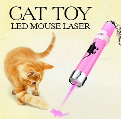 Interactive led Training Funny Cat Play Toy Laser Pointer Pen Mouse Animation ky