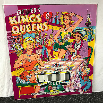 Gottlieb Kings & Queens Pinball Machine Game Backglass Original not Repro and