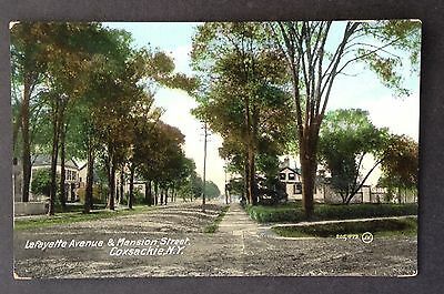 Coxsackie, Ny. C.1908 Pc. Street View Of Lafayette Ave & Mansion St.