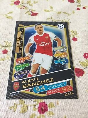 2016 2017 Match Attax Attack Champions League Limited Edition Gold Sanchez