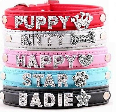 Personalised Pet Dog Cat Collar Rhinestone Name Bling Charms PU Leather UK