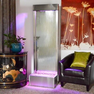 "FLOOR WATERFALL XXL 72""x24"" St. Steel CLEAR GLASS , Color Lights, Remote Ctrl"