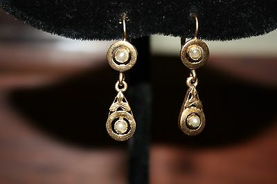 Antique French 18k Gold Dormeuse Pearl Earrings