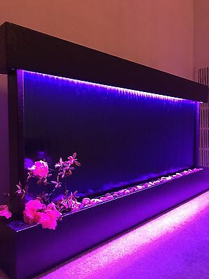 "WALL WATERFALL XL 47""x24"" Black Frame Blue Mirror Color Lights, Remote CTRL SALE"