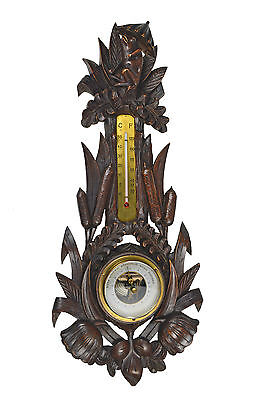 "Antique Cattail and Frog Carved Barometer / Thermometer, Marked ""H F."", German."