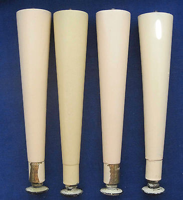 "4 Vintage Painted Cream Color , Mid Century Modern , Tapered Legs , 8 3/4"" long"