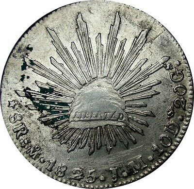 1825 Mexico City 8 Reales Mo. J.M. Great Condition - Very Scarce Date KM: 377.10