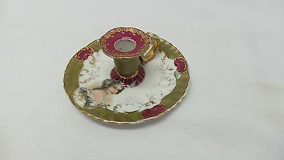 Antique Porcelain N.D&Co Carlsbad Austria Lady Chamberstick Candle Holder