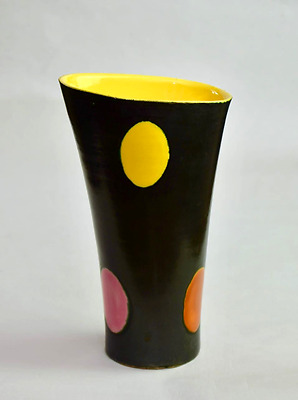 "RARE 9.5"" French ELCHINGER Art Pottery Polka Dot Vase 1950s Mid Century Modern"