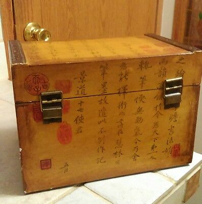 Antique Asian / Chinese Chest with Ming Dynasty calligraphy all over it