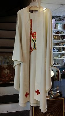 Vintage Liturical Clergy Chasuble Vestment Ivory W/stole A J Mosack & Sons