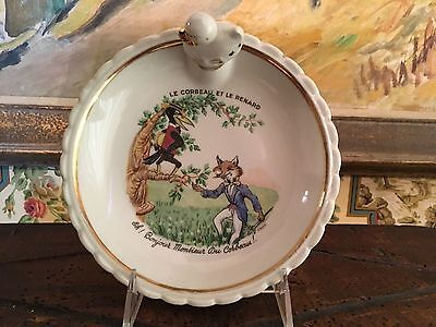 French Children Dish Dishes White Porcelain Gold Gilt  Fables Signed Charming