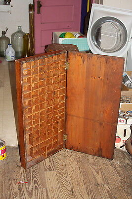 Antique PRIMITIVE Type Set DEEP Tray Cubby Divider Organizer Breadboard Cover