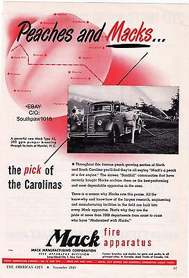 "Vintage 1949 Mack ""Peaches & Macks..The Pick Of Carolina""  Print Advertisement"