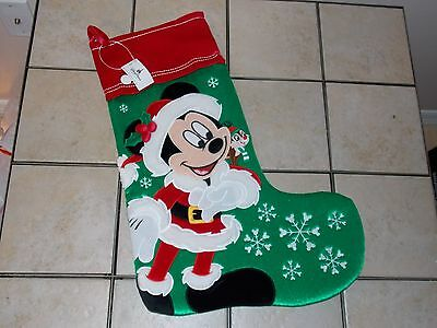 "Disney Parks Santa  MICKEY MOUSE STOCKING Christmas Holiday Plush 18"" NEW"