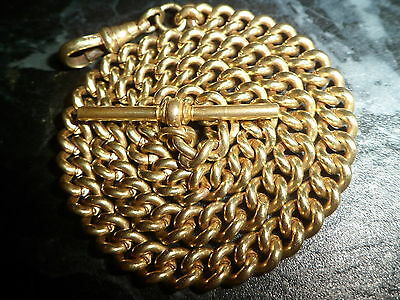 Antique Heavy 44 Grams Gold Tone Albert Pocket Watch Chain - Rolled Gold ?