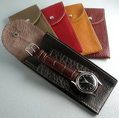 Men's & Womens Calf Leather Wrist Watch Protector Pocket Holder