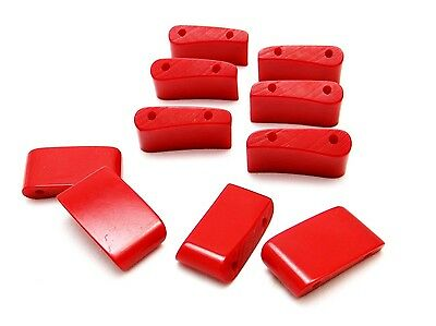 Vintage Cherry Red Bakelite Curved Rectangle Stretch Bracelet Beads S/10-Tested