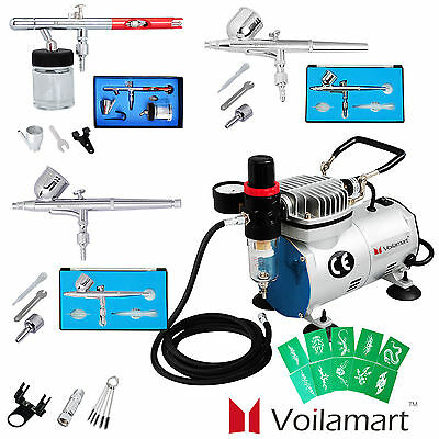 3 Dual Action Airbrush Kit With 1/6hp Compressor Set  Paint Spray Gun Tattoo Art
