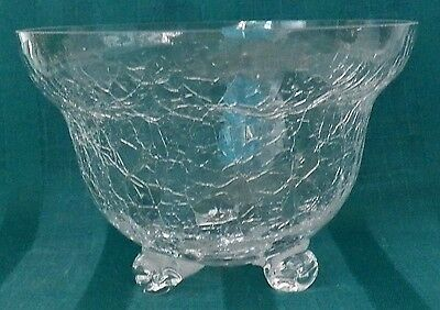 Fine Looking Clear Crackle Glass Three Toed Bowl For Candy, Flowers, Decoration