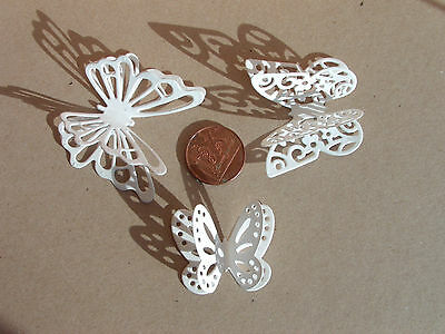 18, 3D Butterfly Die Cuts in 260gsm White Pearlescent Card - 6 each of 3 designs