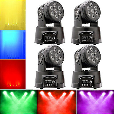 4PCS 7x10W RGBW 4in1 LED Moving Head Stage Light  DJ Club Disco Party Lighting
