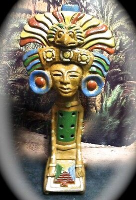 Precolumbian Style Painted Clay Repro Feathered Serpent Mexican Pyramid Flute
