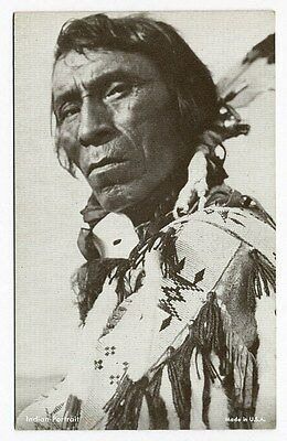 NATIVE AMERICAN INDIAN Portrait Arcade Card c 1940's