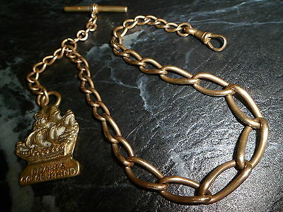 ANTIQUE 9ct ROLLED GOLD GRADUATED ALBERT POCKET WATCH CHAIN - 42 GRAMS