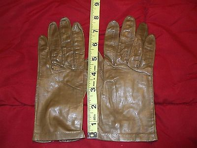 Women's leather gloves driving wrist length tan brown 6.5