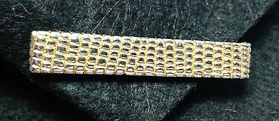 Vintage Christian Dior Textured Gold Tone Tie Bar Clip Signed