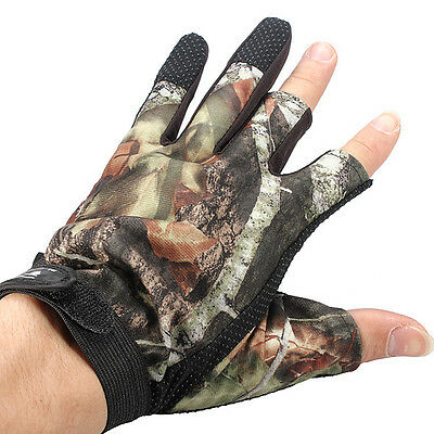 3 Cut Finger Anti-Slip Camouflage Fishing Hunting Gloves Water Proof
