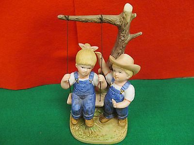 "Home Interiors Denim Days Figurine #8896 ""Summer Days"" Danny & Debbie on Swing"