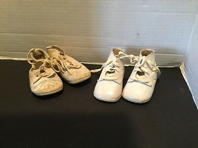 2 pairs Vintage Infant Baby Shoe White Leather