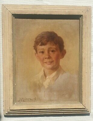 HUGH GOLDWIN RIVIERE 1869-1956 original portrait oil on canvas of a boy