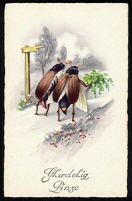 TWO BEETLES Taking a Walk  Fantasy Postcard c 1930 Insects Bugs