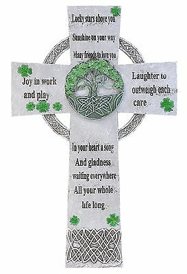 "13 1/2"" Decorative Irish Blessing Celtic Wall Cross - Lucky Stars Above You"