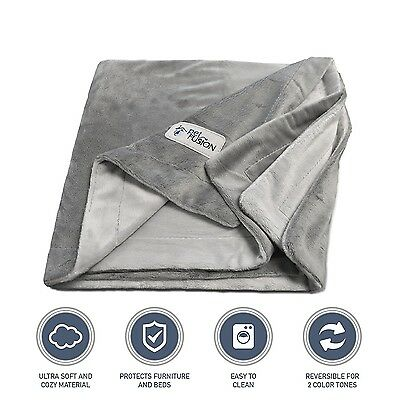 PetFusion Premium Small Dog or Cat Blanket (79x69 CM). Reversible Gray Micro ...