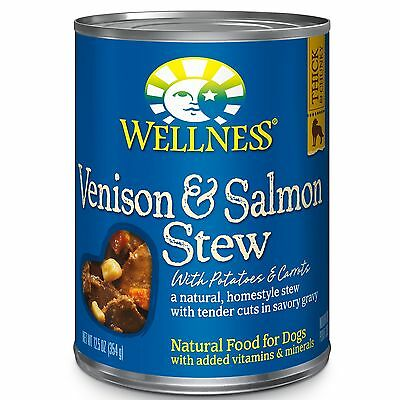 Wellness Thick & Chunky Natural Wet Canned Dog Food Venison & Salmon Stew 12....