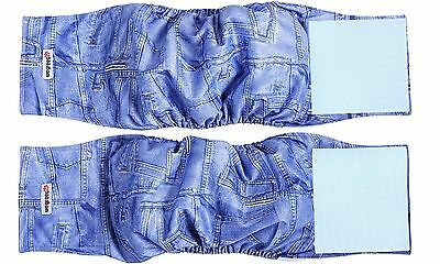 Wegreeco Jeans Washable Male Dog Diapers (Pack of 2) - Washable Male Dog Bell...