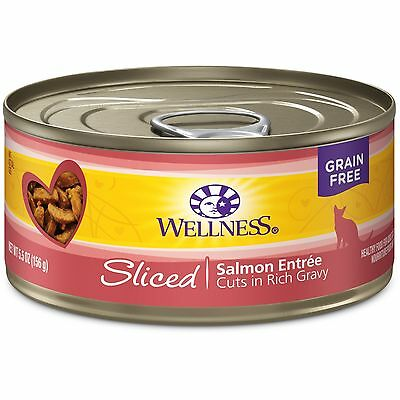 Wellness Natural Canned Grain Free Wet Cat Food Sliced Salmon 5.5-Ounce Can (...