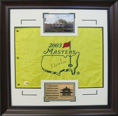 Mike Weir - Signed & Framed Masters Flag - Featuring 5x7 Augusta Photo