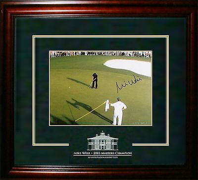 Mike Weir - Signed & Framed 8x10 Etched Mat - Featuring Pin With Caddy