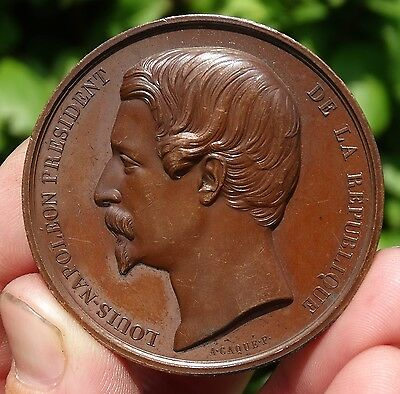SUPERB  !!!  AE 51mm MEDAL undated  of  NAPOLEON III  as PRESIDENT of FRANCE