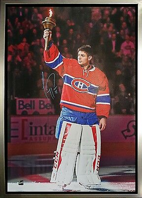 Carey Price - Signed & Framed 20x29 Montreal Canadiens Holding Torch Canvas