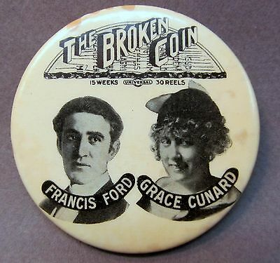 1915 THE BROKEN COIN Movie FRANCIS FORD & GRACE CUNARD celluloid pocket mirror *